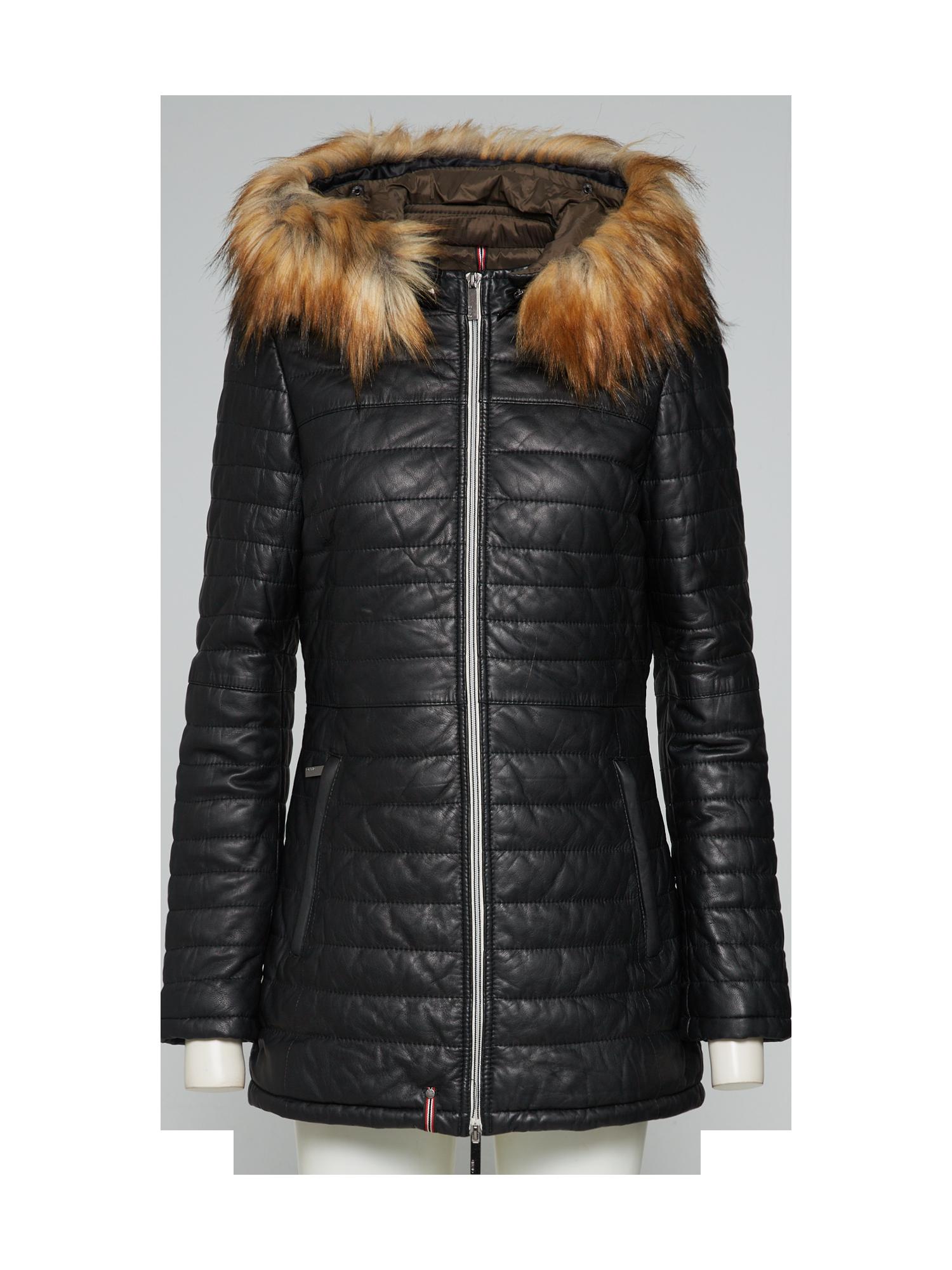 Fekete bőrdzseki szürke szőrmével S, M, L, XL, XXL