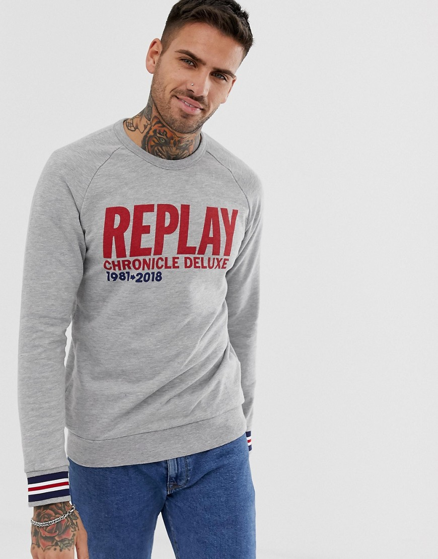 Replay logo text crew neck sweat in grey Grey