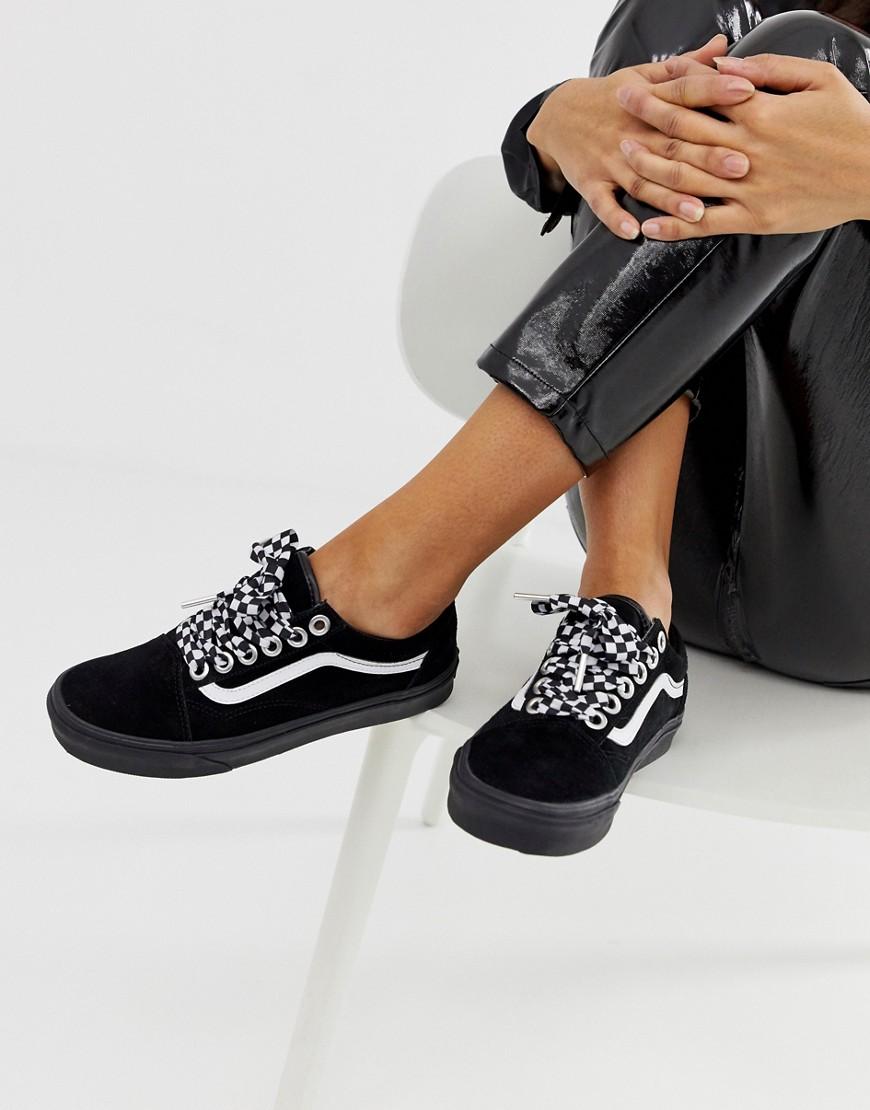 Vans Old Skool Premium black with checkerboard laces trainers Black