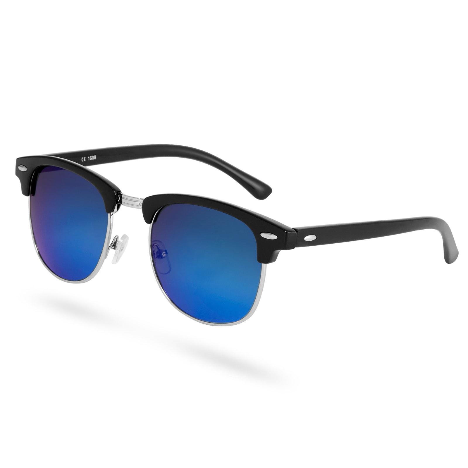 Paul Riley Fekete vastagított keretes napszemüveg kék tükrözött lencsékkel
