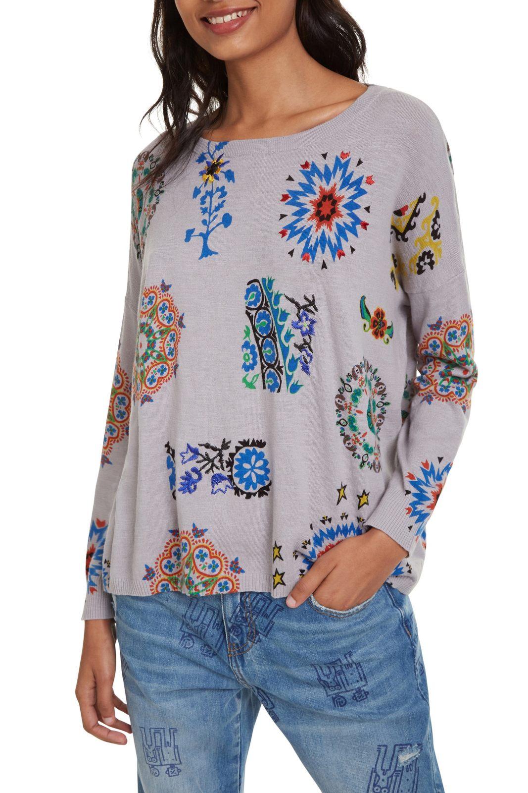 Desigual szürke pulóver Jers Upper színes motívumokkal