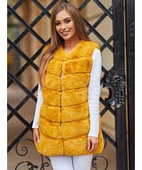 MODANOEMI Női hosszú sárga kabát fehér prémmel M1973 4ZL