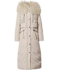 MODANOEMI Női stílusos lila hosszú kabát fehér prémmel VT088