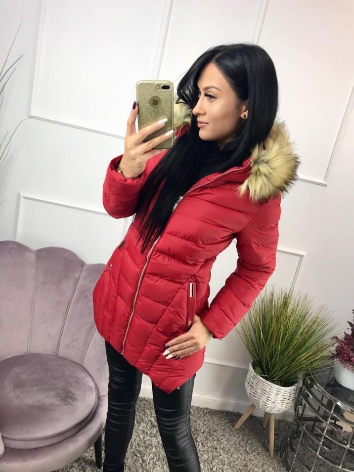 Női hosszú téli kabát, piros