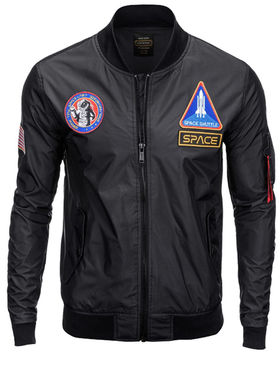 Ombre Clothing Férfi bomber dzseki rátétekkel Space fekete