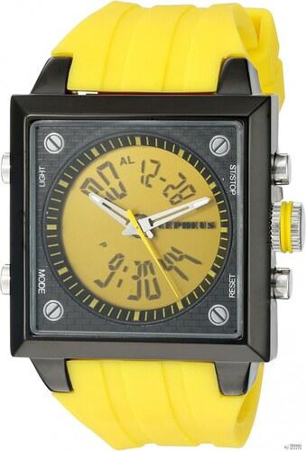 Cepheus férfi Quartz óra karóra sárga számlap kijelző és