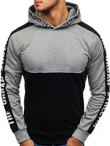 Kapucnis pulóver 3. feketeszürke