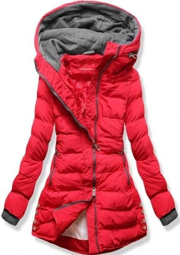 Piros színű rövid steppelt dzseki Butikmoda