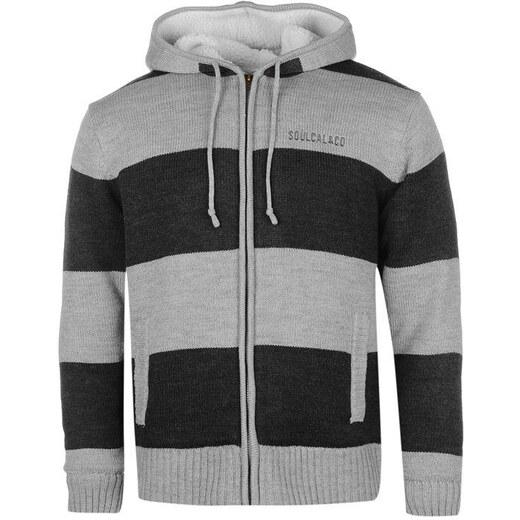 SoulCal Stripe Lined férfi kapucnis cipzáras kötött pulóver