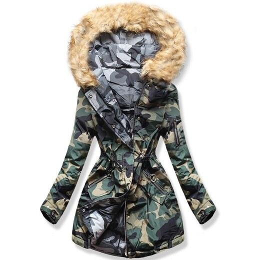 Női átmeneti kétoldalas kabát, khakiszürke
