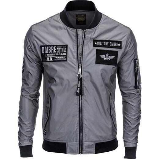 Ombre Clothing Férfi bomber dzseki rátétekkel Veteran szürke