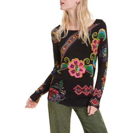 Desigual fekete pulóver Jers Kira s barevnými motivy GLAMI.hu