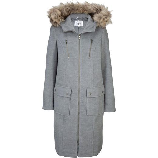 Bonprix Gyapjú hatású kabát kapucnival