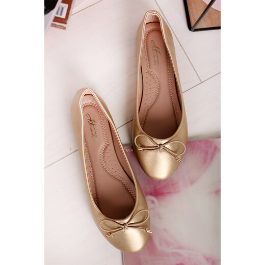 Fekete arany balerina cipő Romana | Cipofalva.hu